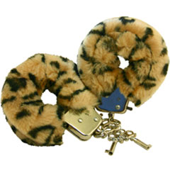Faux Fur Love Cuffs for Intimate Lovers, Plush Leopard