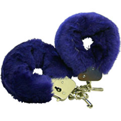 Golden Triangle Faux Fur Love Cuffs for Intimate Lovers, Plush Blue