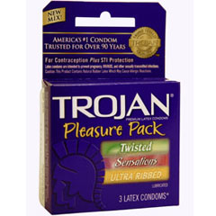 Trojan Pleasure Pack Lubricated Condoms 3 Pack