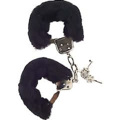 Faux Fur Love Cuffs for Intimate Lovers, Plush Black