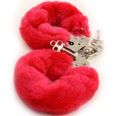 Golden Triangle Faux Fur Love Cuffs for Intimate Lovers, Plush Red