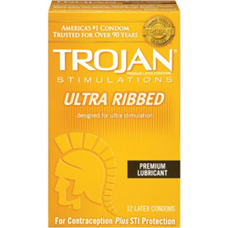 Trojan Ultra Ribbed Lubricated Condoms 12 Pack