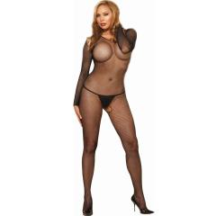Amsterdam Fishnet Open Crotch Bodystocking, Plus Size, Black