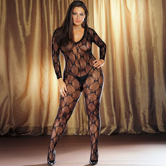 Ribbon and Bow Embroidered Crotchless Bodystocking, Plus Size, Black
