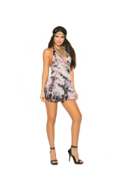 Lace halter mini dress with matching g-string.