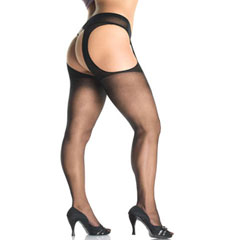 Sheer Suspender Pantyhose Plus Size Black