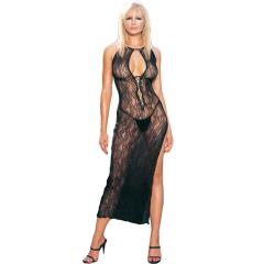 Swirl Lace Long Dress and G String 2 pc. Set, One Size, Black