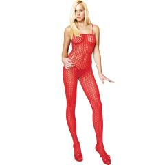 Sexy Seamless Crocheted Net Bodystocking Set, OneSize, Red