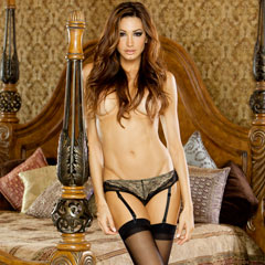 Absolute Treasure Button Back Garter Panty Large Black_Gold