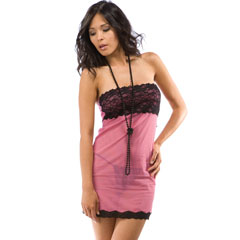 Berry Tempting Lace Strapless Chemise and Panty Lingerie Set One Size, Sassy Pink