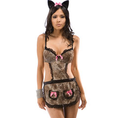 Purrfection Kitty Apron with Headband and Thong, One Size, Animal Print