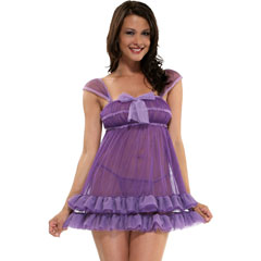 Purple Passion Babydoll Chemise Lingerie and Panty Set, One Size, Lilac