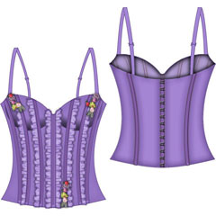 Fairy Princess Lined Boning Corset Large Lavender