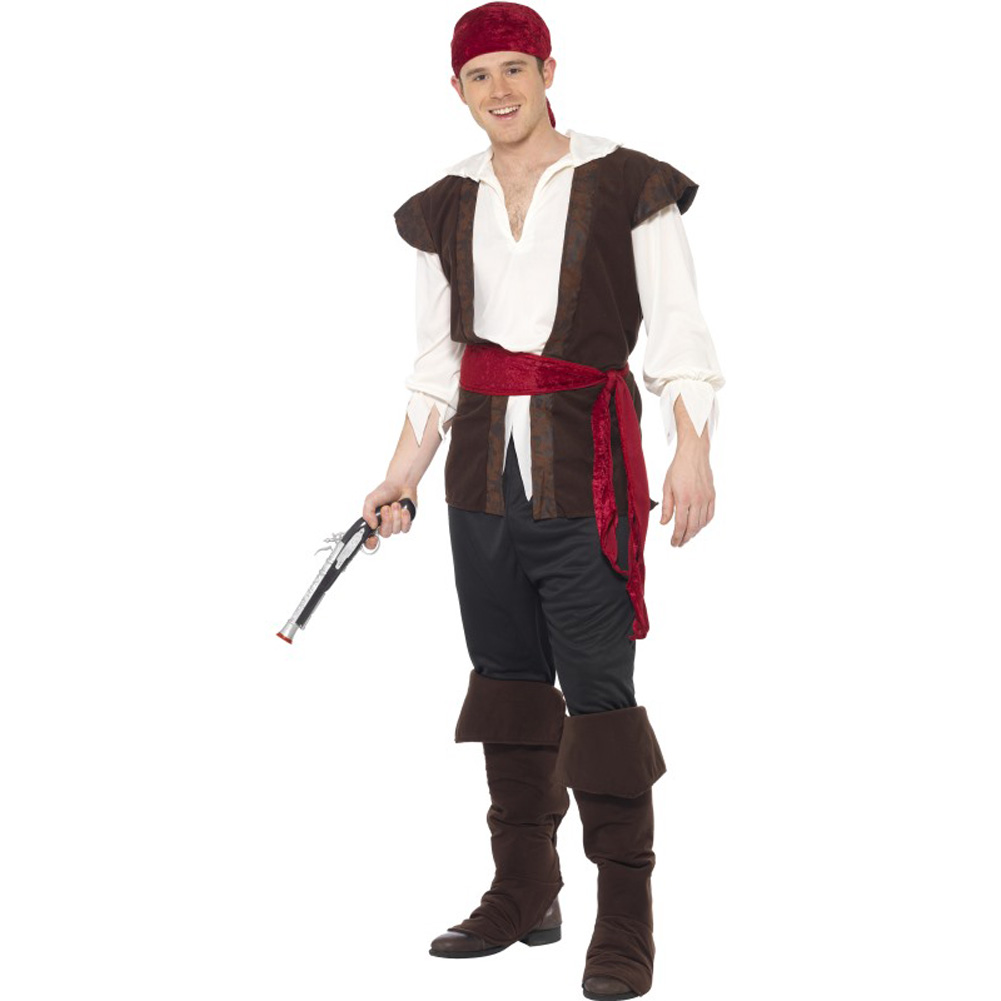 Smiffys Pirate Costume with Top, Trousers, Belt and Boot Covers, Brown/Red, Extra Large
