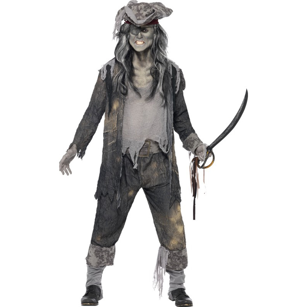 Smiffys Ghost Ship Ghoul Costume with Coat, Trousers and Hat, Gray, Extra Large
