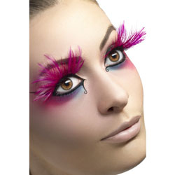 Large Eyelashes with Feather Plumes, Pink