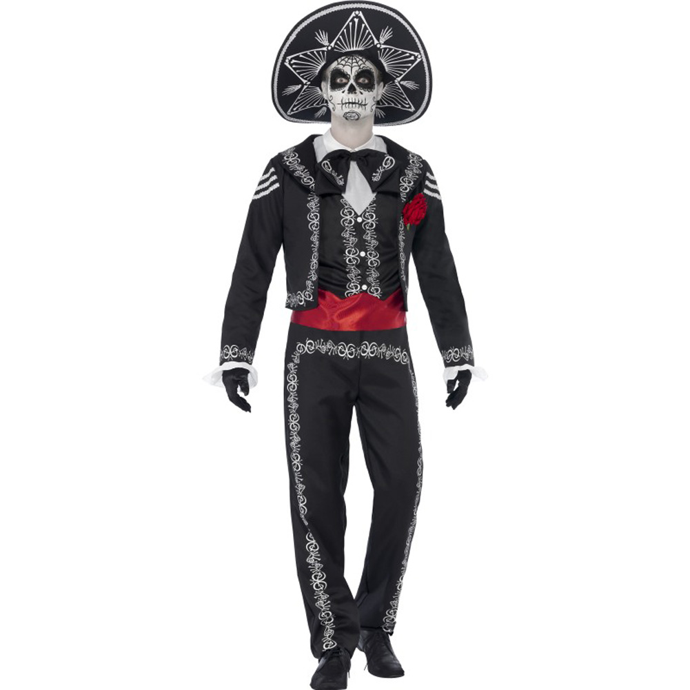 Smiffys Day of the Dead Senor Bones Costume with Hat, White/Black/Red, Small