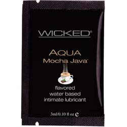 Wicked Sensual Care Collection Aqua Waterbased Lubricant, 3 ml, Mocha Java