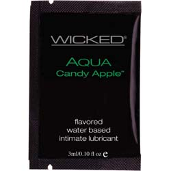 Wicked Sensual Care Collection Aqua Waterbased Lubricant, 3 ml, Candy Apple
