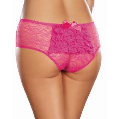 Dreamgirl Stretch Lace Crotchless Ruffled Panty, 3X/4X, Hot Pink