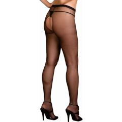 Dreamgirl Sheer Crotchless Pantyhose, Queen Size, Black