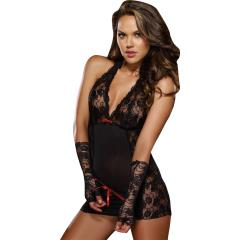 Dreamgirl Microfiber Halter Chemise with Stretch Lace, Thong and Fingerless Glove, One Size, Black