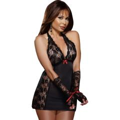 Dreamgirl Microfiber Halter Chemise with Stretch Lace,Thong and Fingerless Glove, OS Queen, Black