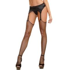 Dreamgirl Raw Top Diamond Net Thigh High Stockings, One Size, Black