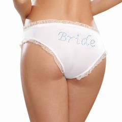 Dreamgirl Microfiber Cheeky Panty with Rhinestone Bride on Back, Small, White