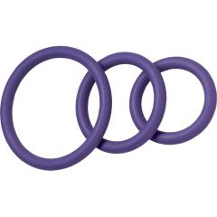 Spartacus Nitrile Cock Ring Set, Pack of 3, Purple