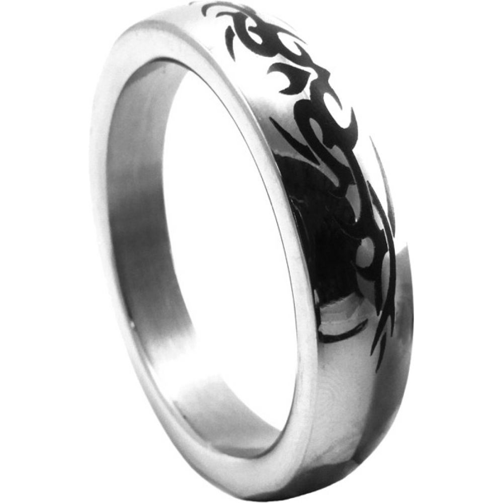 H2H Premium Stainless Steel Cockring with Tribal Design, Small 1.75 Inch, Chrome