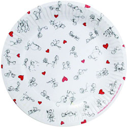 Stick Figure Style 7 Inch Plates 8 Piece Pack