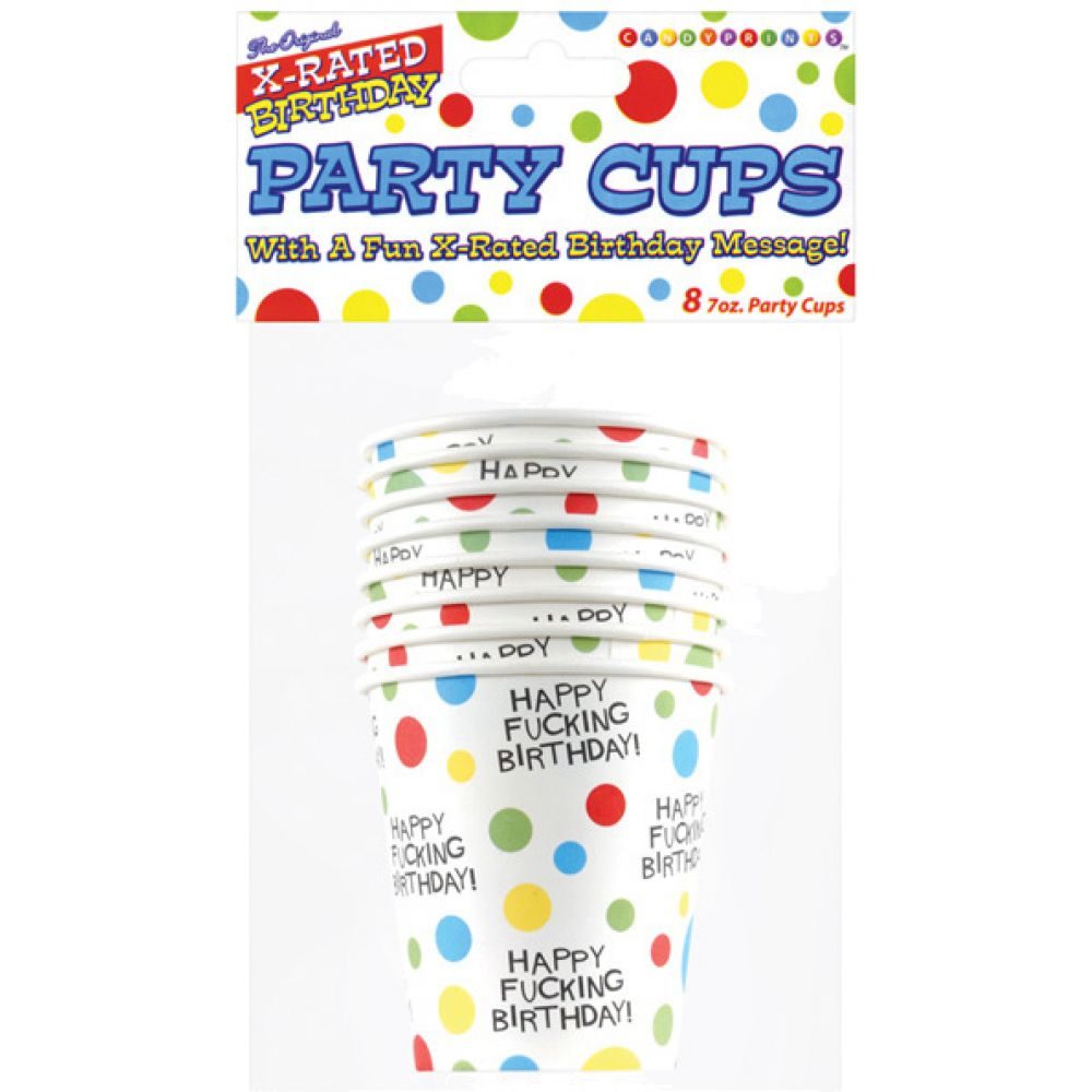 Candyprints Happy Fucking Birthday Party Cups, Pack of 8