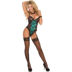 Elegant Moments Ruffle Trim Lace Teddy with Garters, Medium, Black/Emerald