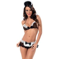 At Your Service Maid Bra, Skirted Panty and Headpiece Black White One Size
