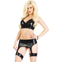Coquette Lingerie Darque Wet Look Bustier with Padded Underwre, Attached Garters, Large, Black