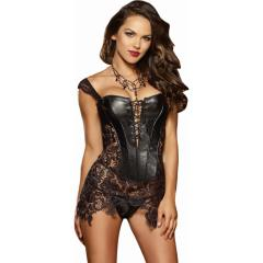 Faux Leather Venice Lace Fully Boned Corset with Hi-Low Attached Skirt and Thong, Size 36, Black
