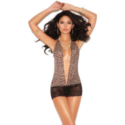 Vivace Mini Dress with Lace Skirt Leopard One Size