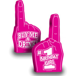 Number 1 Birthday Girl Foam Hand, 18 Inch, Pink