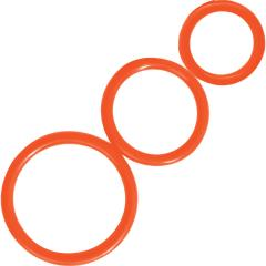 Curve Novelties Rooster Control Rings, Orange, 3 Piece Set