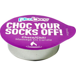 Pico Bong Choc Your Socks Off Massage Oil Candle, 0.5 oz (15 mL), Chocolate/Chili