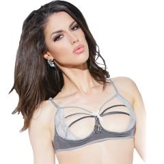Spellbound Stretch Knit and Lace Cupless Bra with Mini Handcuff Charm Dark Silver/Silver Medium