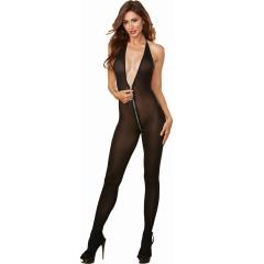 Semi Opaque Halter Bodystocking with Adjustable Halter Ties and Front to Back Zipper Black One Size