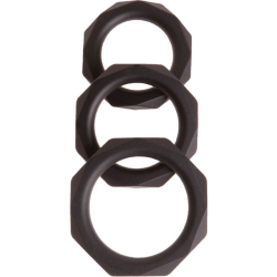 Malesation Diamond Silicone Cock Ring Set, Black, Pack of 3