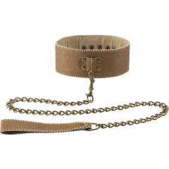 Ouch! Premium Bonded Leather Collar with Leash, Brown