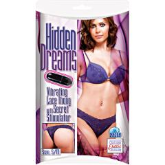 Hidden Dreams Lace Thong with Secret Stimulator by CalExotics, Small/Medium, Purple