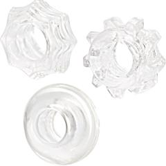 Calexotics Reversible Cock Ring Set, Pack of 3, Crystal Clear