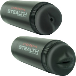 Topco Cyberskin Stealth Mouth and Ass Posable Dual Stroker for Men, Black