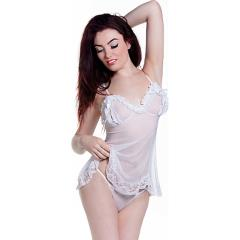 DeNamour Lingerie Mesh Babydoll and Matching G-String, Large/XL, Wedding Night White