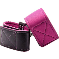 Reversible Ankle Cuffs Premium Bonded Leather and Neoprene Pink
